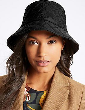 Quilted Popper Strap Winter Hat, BLACK, catlanding
