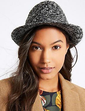 Buckle Trilby Winter Hat, BLACK MIX, catlanding