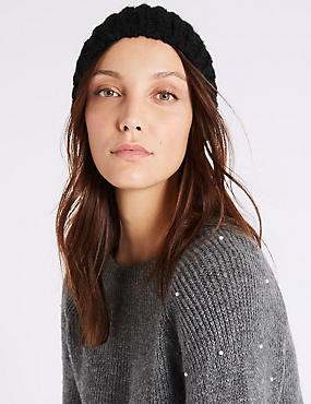 Textured Beanie Winter Hat, BLACK, catlanding