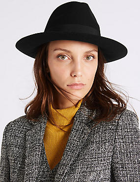 Pure Wool Winter Hat with Thinsulate™, BLACK, catlanding