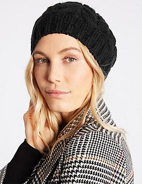 Cable Knit Beret Hat, BLACK, catlanding