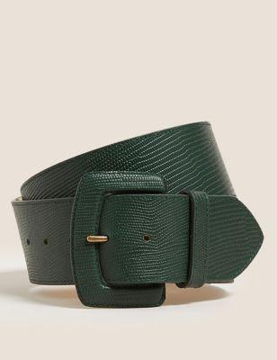 Leather Lizard Effect Waist Belt