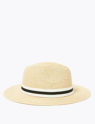 Straw Ribbon Detail Fedora Hat