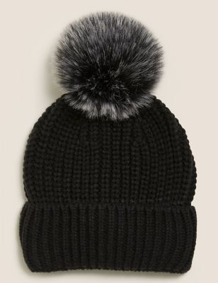 Knitted Faux Fur Pom Hat