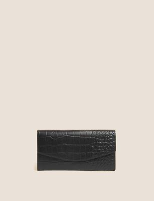 Leather Croc Effect Large Foldover Purse