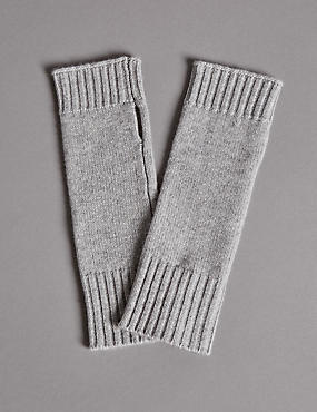 Pure Cashmere Slash End Gloves, GREY, catlanding