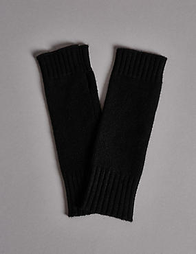 Pure Cashmere Slash End Gloves, BLACK, catlanding
