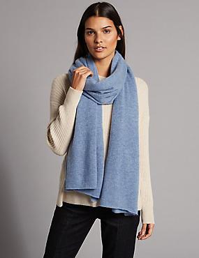 Pure Cashmere Textured Scarf, PALE BLUE, catlanding