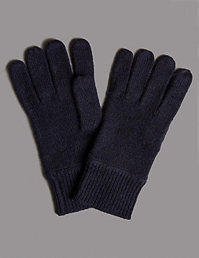 Pure Cashmere Gloves, NAVY, catlanding
