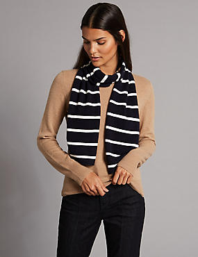 Pure Cashmere Striped Scarf, NAVY MIX, catlanding