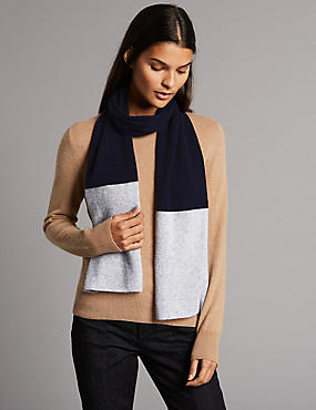 Pure Cashmere Colour Block Scarf, NAVY MIX, catlanding