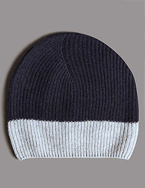 Pure Cashmere Colour Block Beanie Hat, NAVY MIX, catlanding