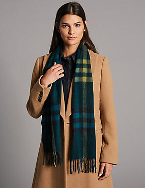 Pure Cashmere Checked Scarf, GREEN MIX, catlanding