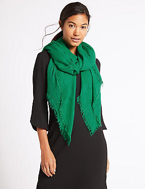 Chenille Striped Scarf, GREEN, catlanding