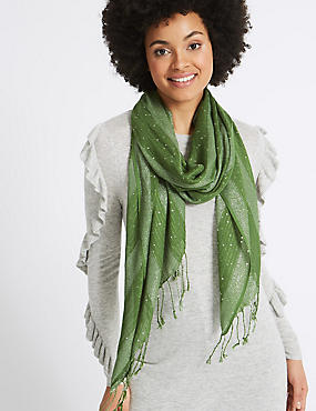 Sequin Striped Scarf, GREEN, catlanding