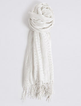 Sequin Striped Scarf, CREAM, catlanding