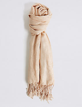 Sequin Striped Scarf, GOLD, catlanding