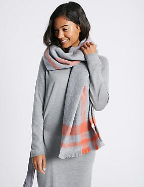 Soft Touch Border Scarf, GREY MIX, catlanding