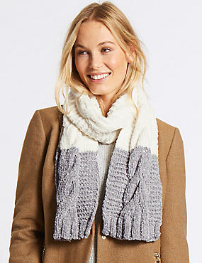 Cable Chenille Scarf, CREAM MIX, catlanding