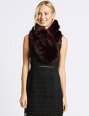 Faux Fur Slot Through Scarf, DARK GRAPE, catlanding