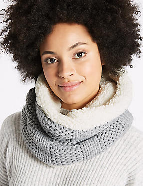 Cable Knit Fur Snood Scarf, GREY, catlanding