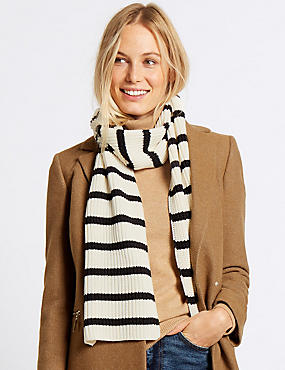 Striped Scarf, CREAM MIX, catlanding