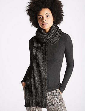 Metallic Ribbed Scarf, BLACK MIX, catlanding