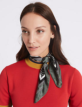 Spotted & Striped Scarf, GREEN MIX, catlanding