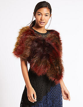 Faux Fur Scarf, RED MIX, catlanding