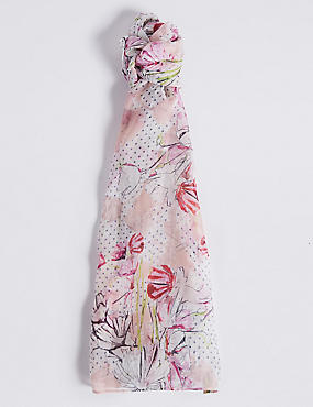 Pure Silk Floral Print Scarf, PINK MIX, catlanding