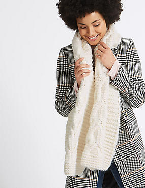 Cable Knit Scarf, CREAM, catlanding