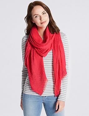 Textured Crinkle Scarf , RED, catlanding