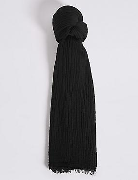 Textured Crinkle Scarf , BLACK, catlanding