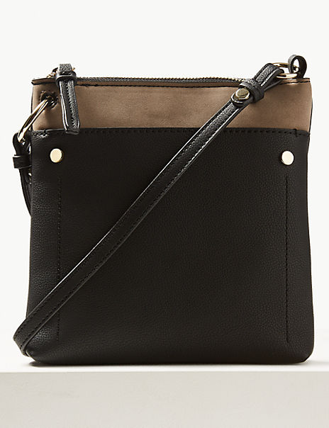 Faux Leather Front Pocket Cross Body Bag