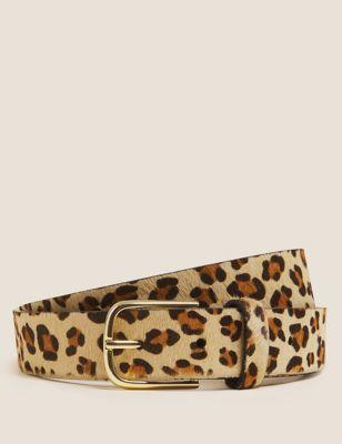 Leather Leopard Print Jean Belt