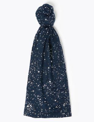 Star Foil Printed Scarf