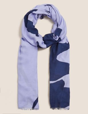 Woven Printed Scarf with Modal