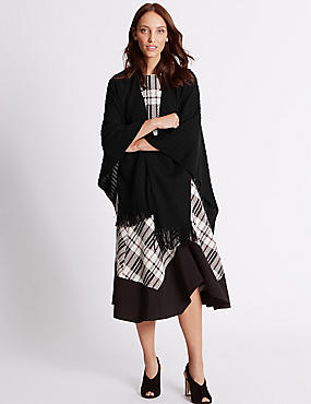 Knitted Wrap, BLACK, catlanding