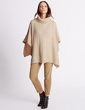Mixed Stitch Poncho, NATURAL, catlanding