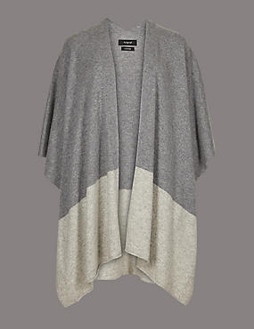 Pure Cashmere Colour Block Wrap , GREY MIX, catlanding