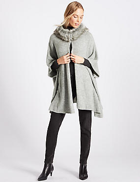 Faux Fur Knitted Wrap, SILVER GREY, catlanding