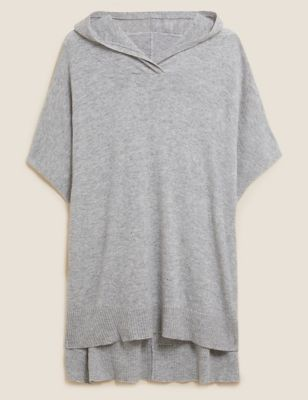 Hooded Poncho with Cashmere