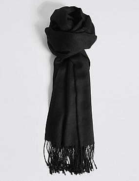 Modal Rich Pashminetta Scarf, BLACK, catlanding