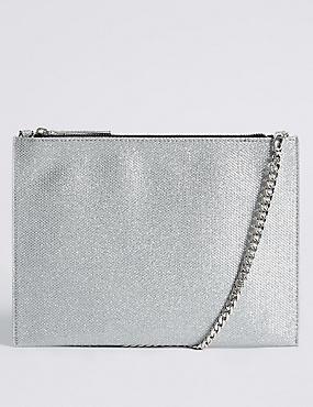 Faux Leather Chain Shoulder Bag, SILVER MIX, catlanding