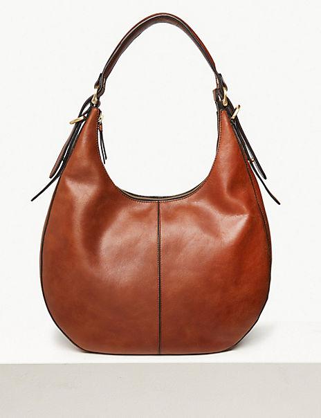 Leather Zip Detail Hobo Bag