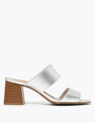 Metallic Block Heel Mules