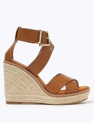 Buckle Strappy Wedge Espadrilles