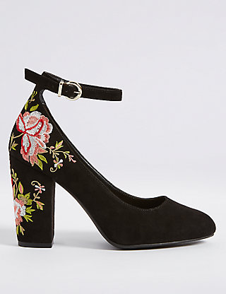 Image is loading ZARA-WOMAN-FLORAL-EMBROIDERED-HIGH-HEEL-COURT-SHOES-