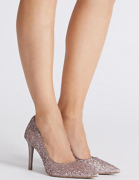 Stiletto Heel Pointed Court Shoes, PINK, catlanding