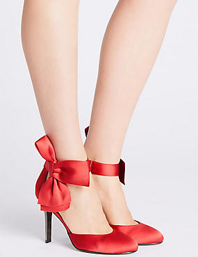 Stiletto Bow Satin Two Part Court Shoes, RED, catlanding